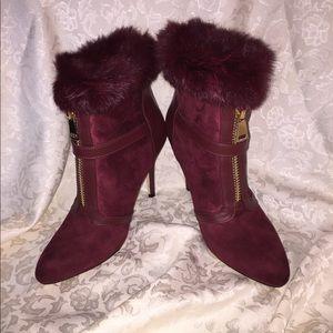 Burgundy fur trimmed booties