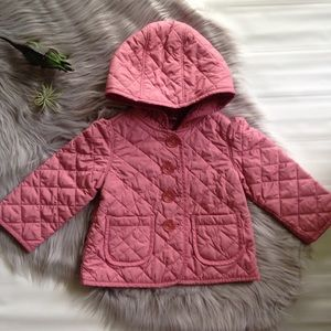 Baby Gap dusty rose pink quilted jacket coat hood
