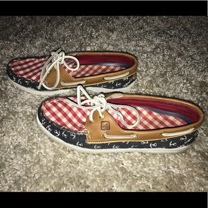 Red white and blue Sperry loafers