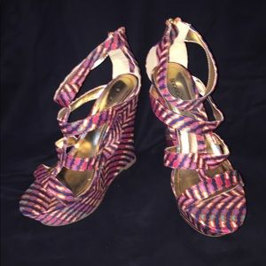 Fun Stripped wedges in hot colors
