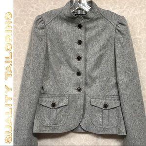 Banana Republic Gray Lined Blazer W/StandUp Collar