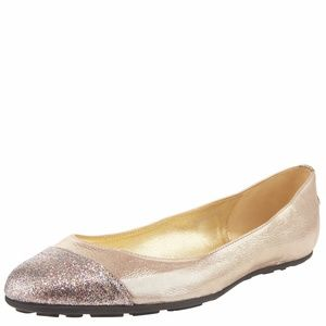 Jimmy Choo metallic rose gold glitter ballet flats