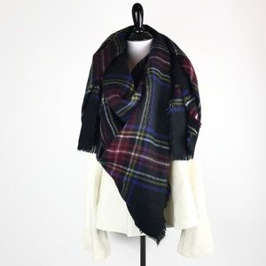Zara Navy Blue Plaid Tartan Blanket Scarf