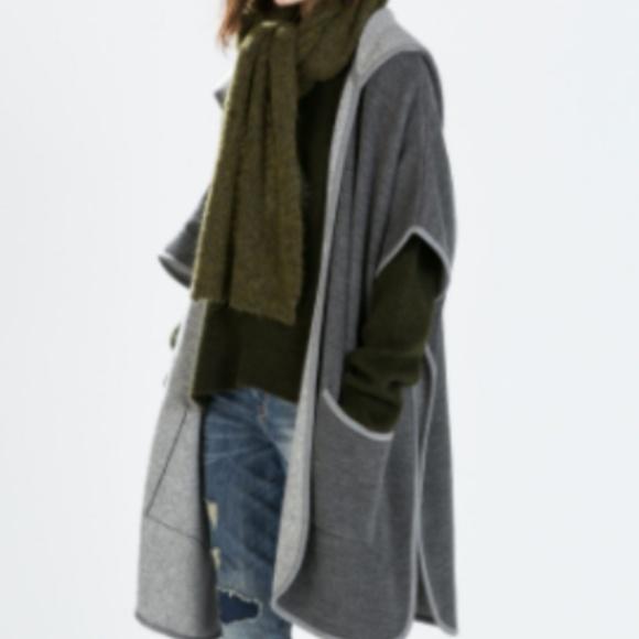 99dbdbfe Zara Jackets & Coats | Hooded Sweater Coat With Kimono Sleeves ...