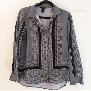 H&M Blouse Patterned Black and White