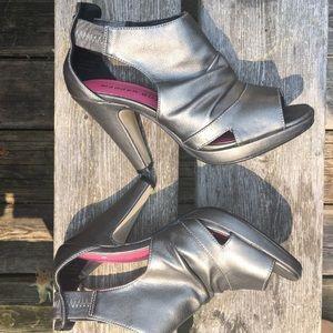 Madden Girl Silver Peep Toe Slip On Heels