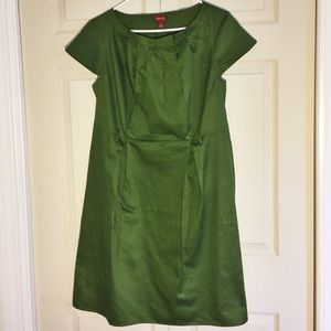 Olive Green Dress with Capped Sleeves