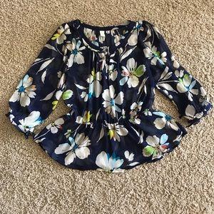 Floral waist cinched blouse
