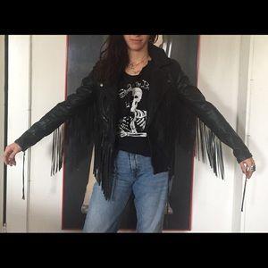 Vegan Blank NYC Black leather fringe Moro jacket