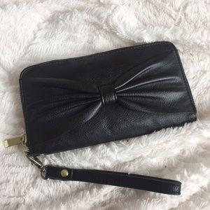Handbags - Target Black Bow Zip Wallet