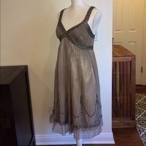 Adrianna Papell evening glamorous dress soft grey