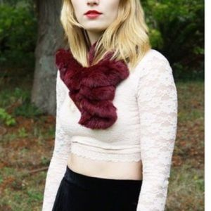 "Accessories - Rabbit Fur Scarf ""luxury"" Deep Dark Berry in color"