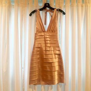 BCBGMAXAZRIA Champagne Layered Halter Dress
