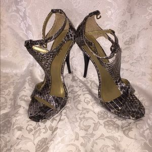 Strapped faux alligator heels