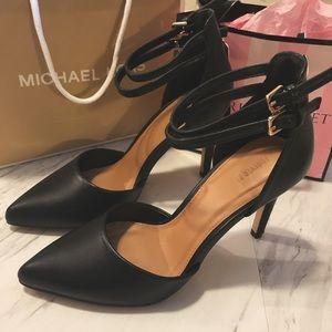 Black pointed heels