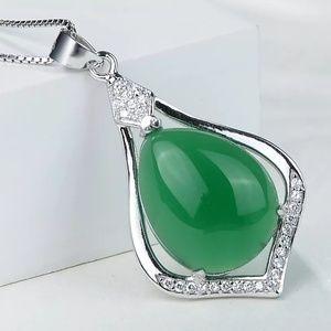 Sterling Silver Chalcedony Jade Drop Shape pendant