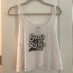 Captain Morgan Cropped White Tank One Sz Fits All