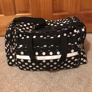 Handbags - Black and white polka dot duffle
