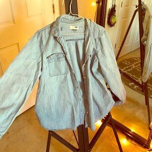 Denim button up long sleeve shirt