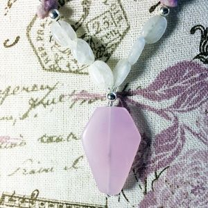 Pink Coffin Moonstone Beaded Necklace