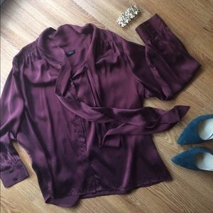 Talbots blouse silk romantic tie gathers wine M