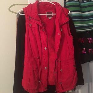Jackets & Blazers - Boutique red fur lined vest
