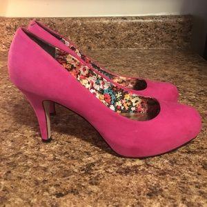 Madden Girl Pink Velvet Barbie Doll Pumps Heels