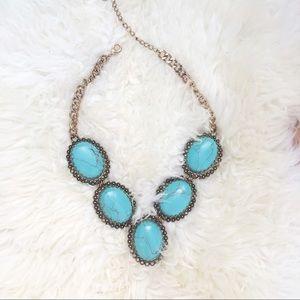 ALDO Calcite XL turquoise stone necklace