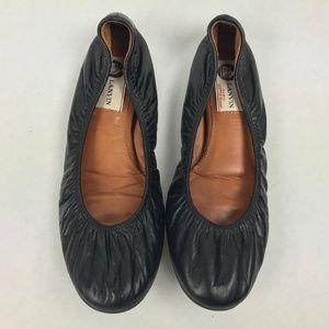 Lanvin Ballet Ballerina Flats Black Leather 38
