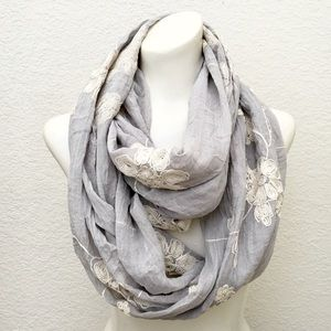 Floral Embroidered Gauze Weave Infinity Scarf, NWT