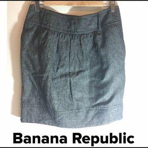 Banana Republic Gray Linen Work Skirt