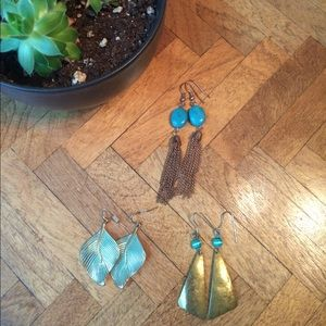 Turquoise and Gold Earring Bundle