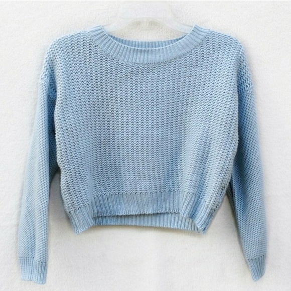 Forever 21 Sweaters Light Blue Cropped Knit Sweater Poshmark