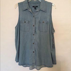 🆕 Chaps soft denim sleeveless blouse