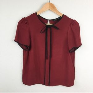 Zara Merlot and Black Trim Tie Tee
