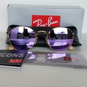 Ray Ban round bronze brushed Lilac mirror 50mm