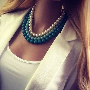 Turquoise Pearl Mint 3 Tier Statement Necklace
