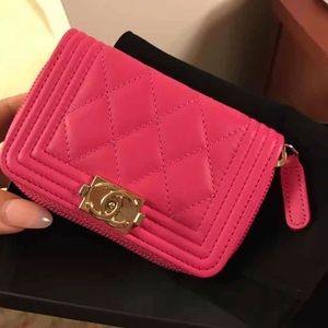 Authentic Chanel Le Boy pink card case