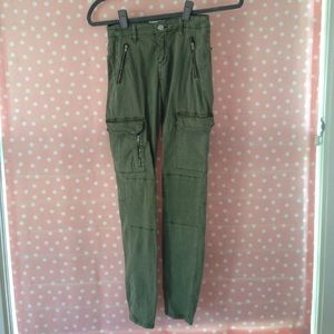 Slim fit olive green cargo pants