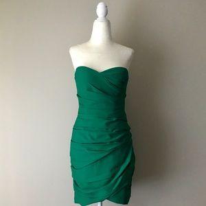 BCBGMaxAzria green strapless dress