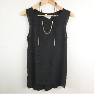 Zara Laser Cut Black Tank
