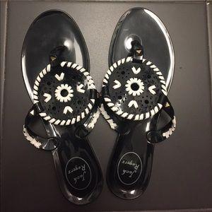 Jack Rogers black flip flops. Size 9.