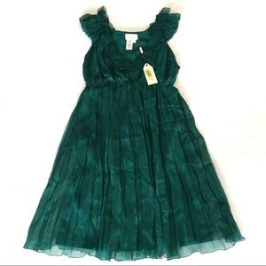 M.S.S.P. Emerald Green deep v-neck Party dress