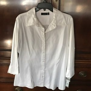 White cotton/spandex blouse never worn
