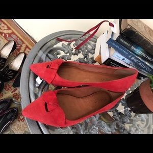 Madewell red suede flats