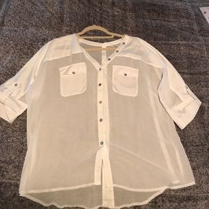 White loose sheer button blouse size small