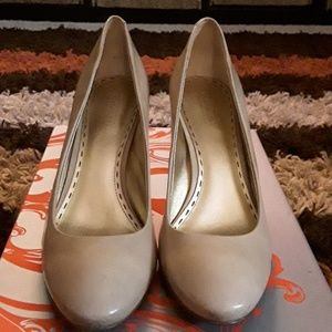 Taupe Patent Leather Heels by Coach
