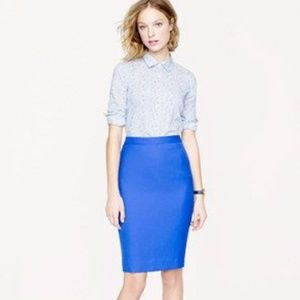 J. Crew Royal Blue No. 2 Pencil Skirt Wool 10