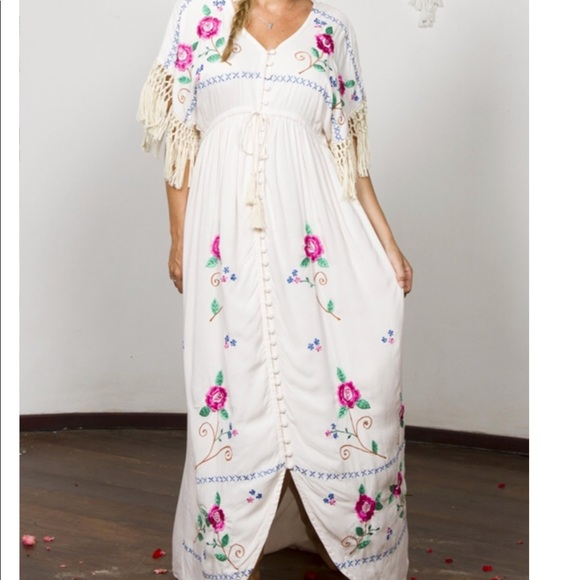 922e0c7061 Fillyboo - Bojangles Cross Stitch Story Maxi Dress