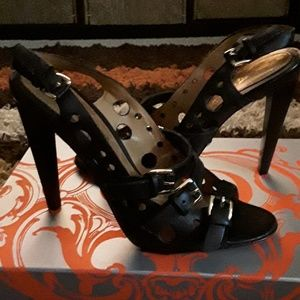 Black Leather Sandals by L.A.M.B.